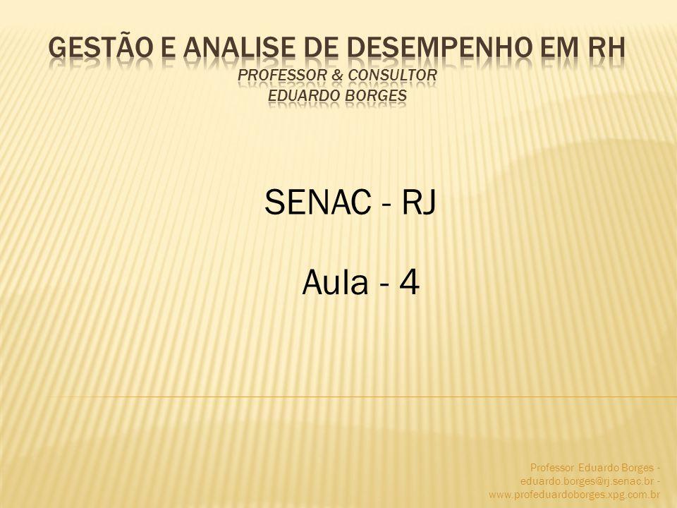 Professor Eduardo Borges - eduardo.borges@rj.senac.br - www.profeduardoborges.xpg.com.br *** Aplicação da Avaliação de Desempenho *** 1.