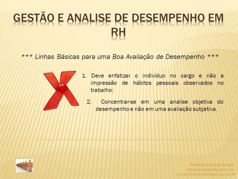 Professor Eduardo Borges - eduardo.borges@rj.senac.br - www.profeduardoborges.xpg.com.br *** Linhas Básicas para uma Boa Avaliação de Desempenho *** 1