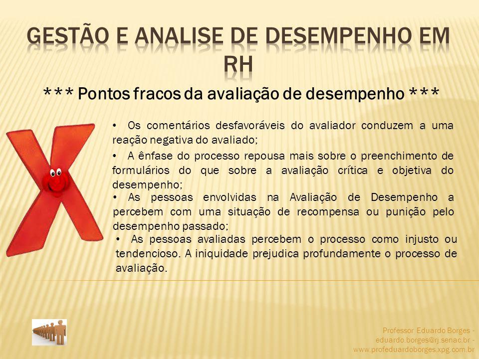 Professor Eduardo Borges - eduardo.borges@rj.senac.br - www.profeduardoborges.xpg.com.br *** Pontos fracos da avaliação de desempenho *** Os comentári