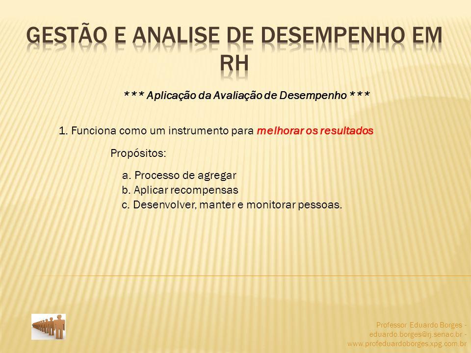 Professor Eduardo Borges - eduardo.borges@rj.senac.br - www.profeduardoborges.xpg.com.br *** Aplicação da Avaliação de Desempenho *** 1. Funciona como