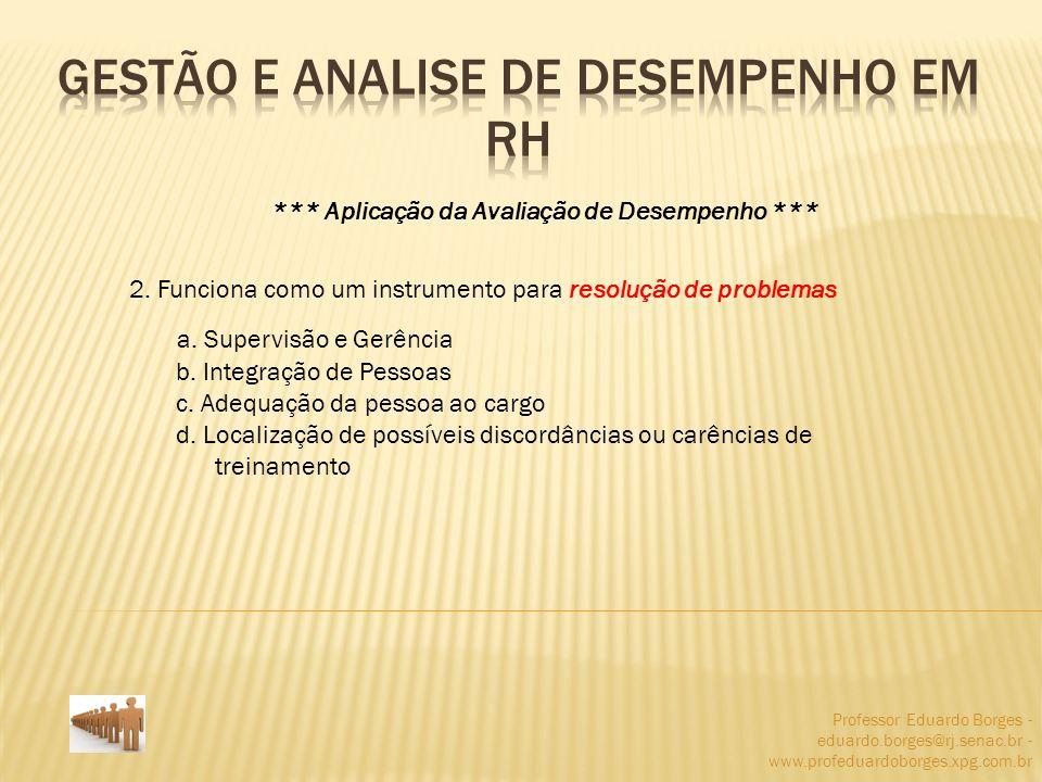 Professor Eduardo Borges - eduardo.borges@rj.senac.br - www.profeduardoborges.xpg.com.br *** Aplicação da Avaliação de Desempenho *** 2. Funciona como