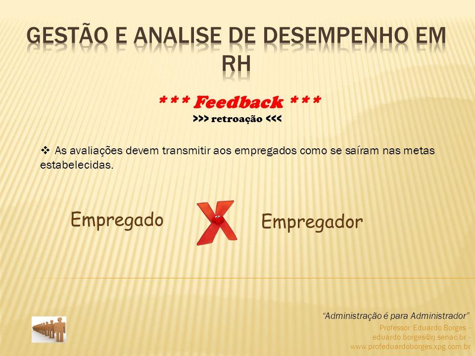 Professor Eduardo Borges - eduardo.borges@rj.senac.br - www.profeduardoborges.xpg.com.br A comunicação do resultado da avaliação ao empregado é o ponto fundamental de quase todas as ferramentas de Avaliação de Desempenho.