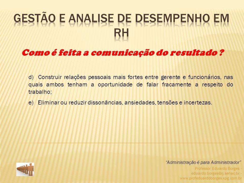 Professor Eduardo Borges - eduardo.borges@rj.senac.br - www.profeduardoborges.xpg.com.br Fundamentar aumentos salariais; Administração é para Administrador Por que as empresas estão preocupadas em avaliar o desempenho humanos .