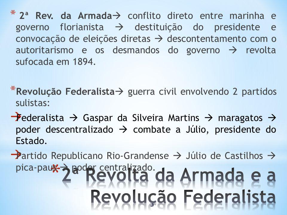 * 2ª Rev. da Armada conflito direto entre marinha e governo florianista destituição do presidente e convocação de eleições diretas descontentamento co