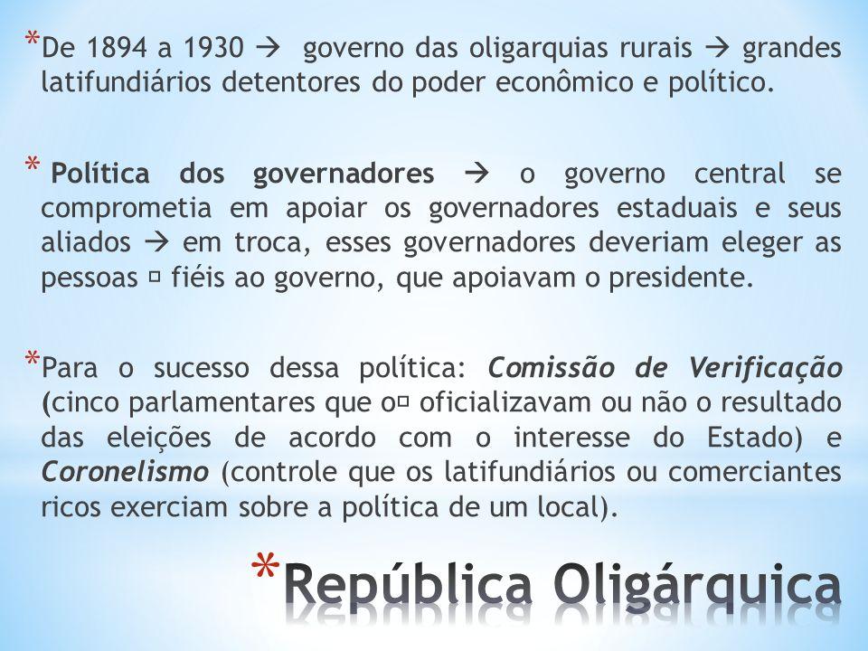 * De 1894 a 1930 governo das oligarquias rurais grandes latifundiários detentores do poder econômico e político. * Política dos governadores o governo