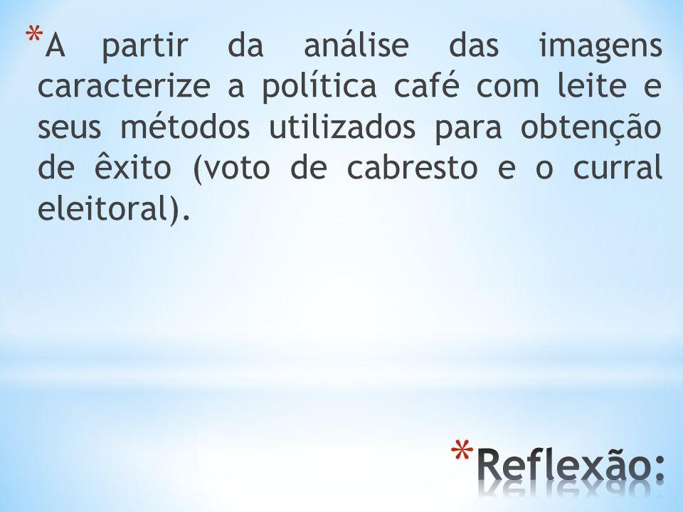 * A partir da análise das imagens caracterize a política café com leite e seus métodos utilizados para obtenção de êxito (voto de cabresto e o curral
