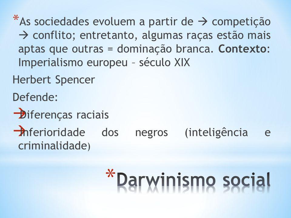 * As sociedades evoluem a partir de competição conflito; entretanto, algumas raças estão mais aptas que outras = dominação branca. Contexto: Imperiali