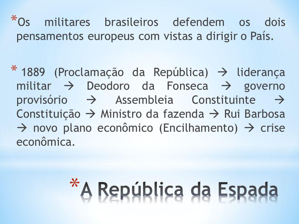 * Os militares brasileiros defendem os dois pensamentos europeus com vistas a dirigir o País. * 1889 (Proclamação da República) liderança militar Deod
