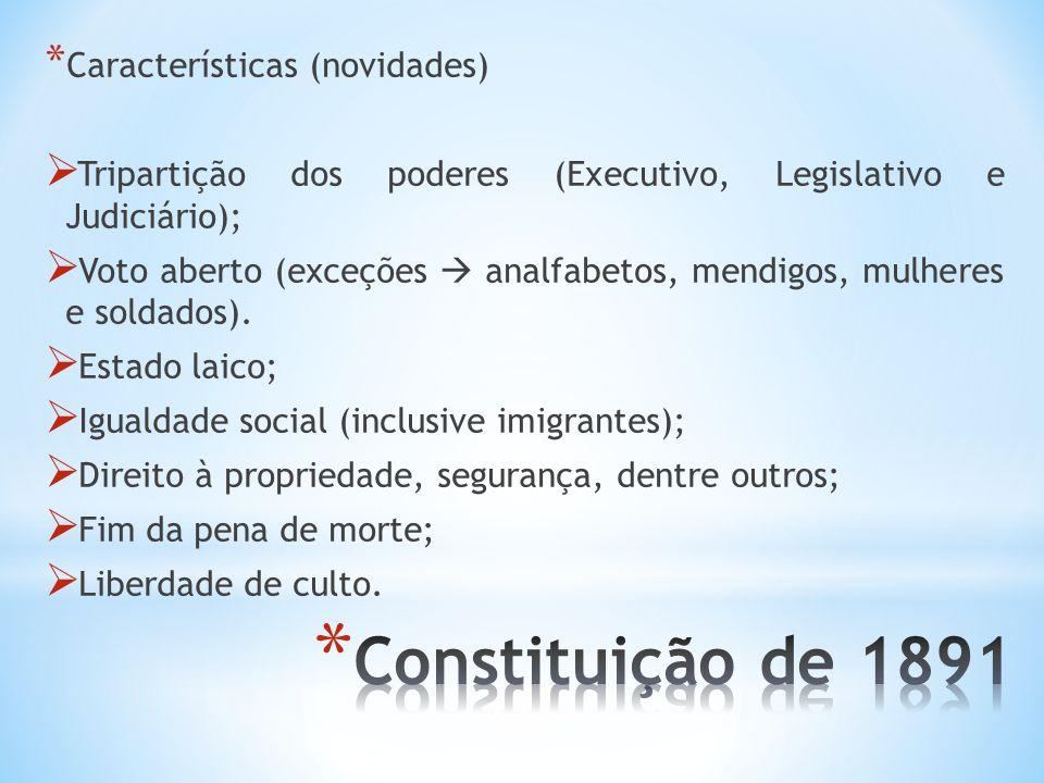 * Características (novidades) Tripartição dos poderes (Executivo, Legislativo e Judiciário); Voto aberto (exceções analfabetos, mendigos, mulheres e s