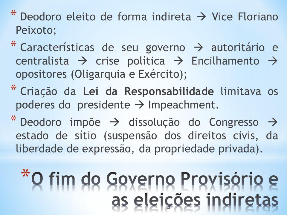 * Deodoro eleito de forma indireta Vice Floriano Peixoto; * Características de seu governo autoritário e centralista crise política Encilhamento oposi