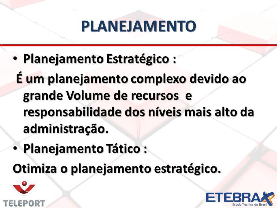 PLANEJAMENTO Planejamento Estratégico : Planejamento Estratégico : É um planejamento complexo devido ao grande Volume de recursos e responsabilidade dos níveis mais alto da administração.