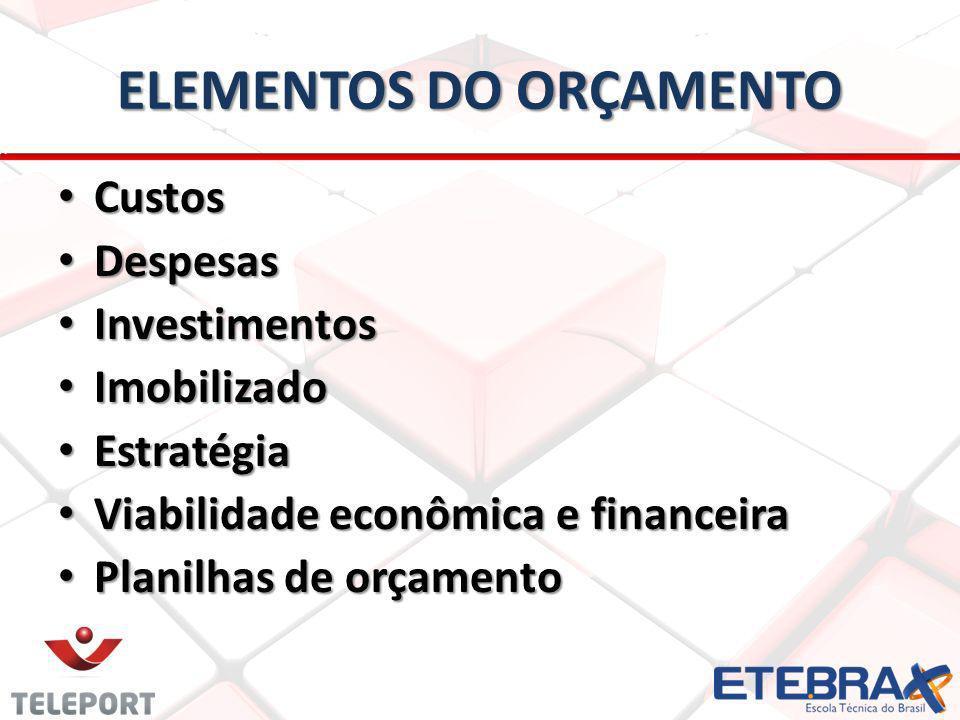 ELEMENTOS DO ORÇAMENTO Custos Custos Despesas Despesas Investimentos Investimentos Imobilizado Imobilizado Estratégia Estratégia Viabilidade econômica e financeira Viabilidade econômica e financeira Planilhas de orçamento Planilhas de orçamento