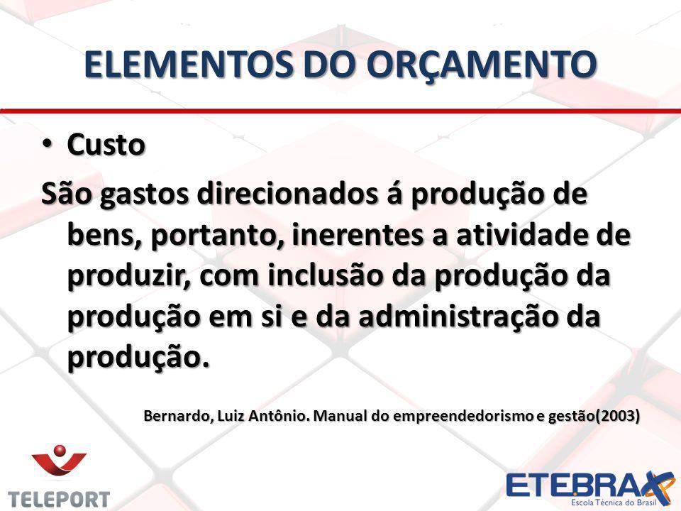 Custo Custo São gastos direcionados á produção de bens, portanto, inerentes a atividade de produzir, com inclusão da produção da produção em si e da administração da produção.