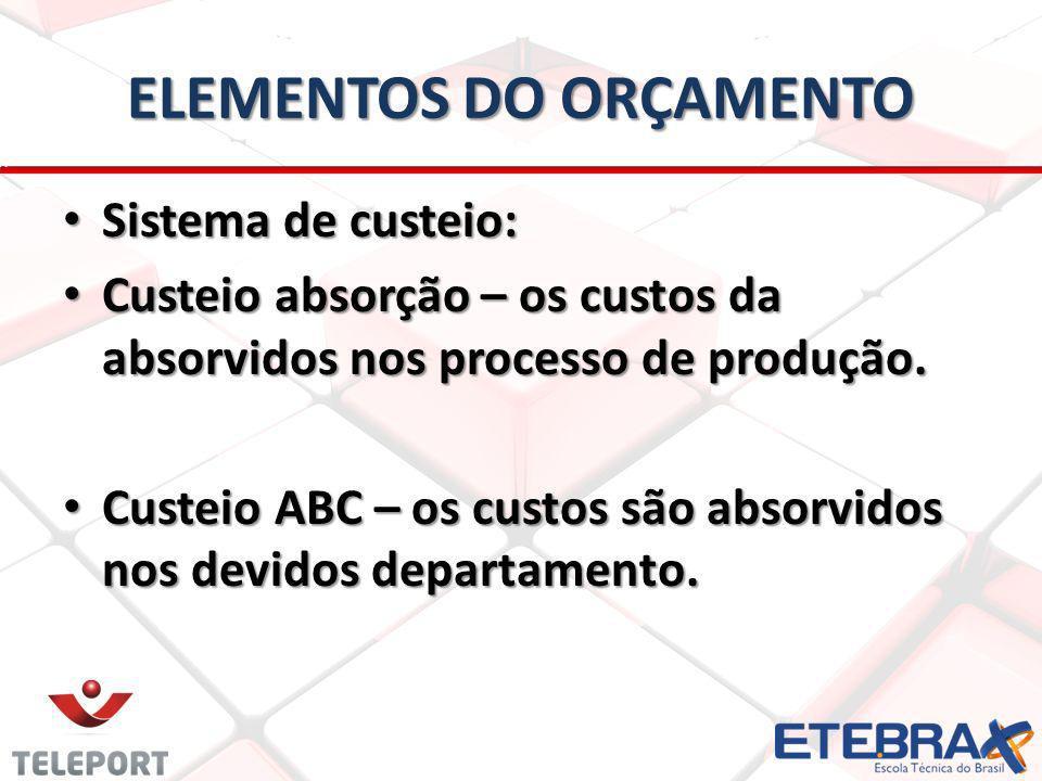 ELEMENTOS DO ORÇAMENTO Sistema de custeio: Sistema de custeio: Custeio absorção – os custos da absorvidos nos processo de produção.
