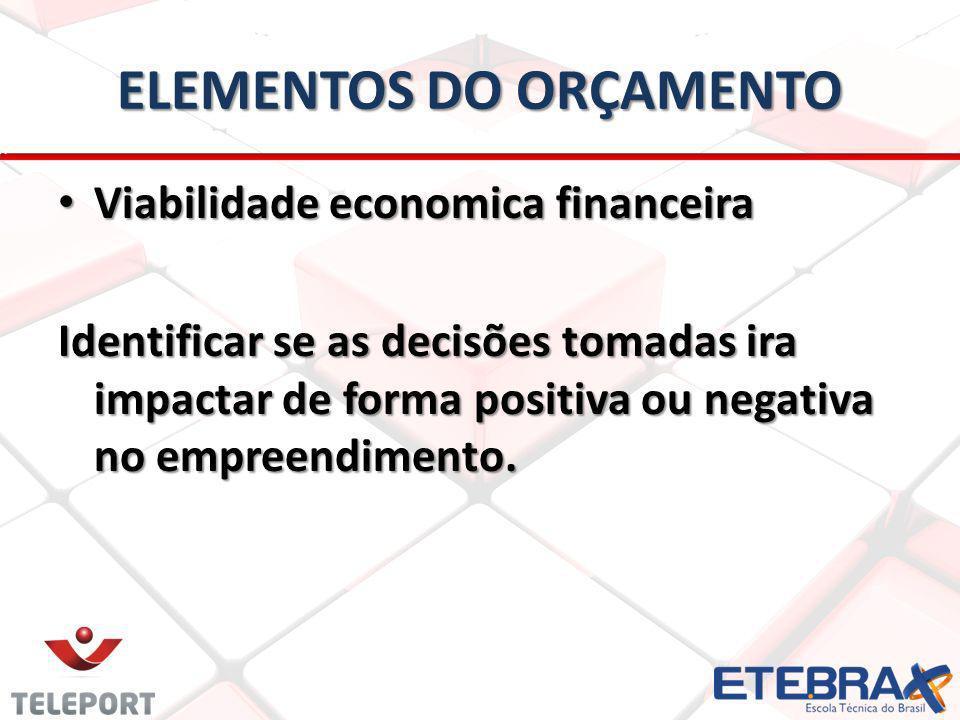 ELEMENTOS DO ORÇAMENTO Viabilidade economica financeira Viabilidade economica financeira Identificar se as decisões tomadas ira impactar de forma positiva ou negativa no empreendimento.