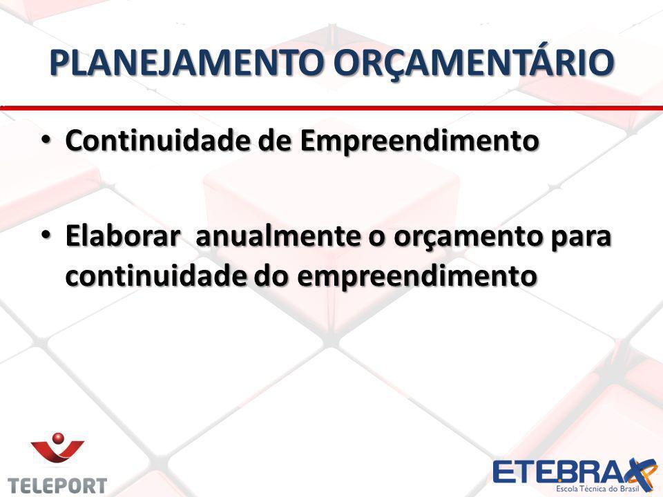 PLANEJAMENTO ORÇAMENTÁRIO Continuidade de Empreendimento Continuidade de Empreendimento Elaborar anualmente o orçamento para continuidade do empreendimento Elaborar anualmente o orçamento para continuidade do empreendimento