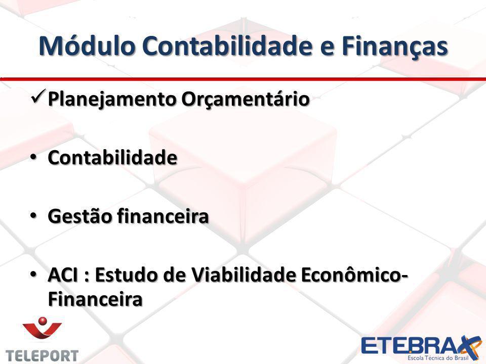 Módulo Contabilidade e Finanças Planejamento Orçamentário Planejamento Orçamentário Contabilidade Contabilidade Gestão financeira Gestão financeira ACI : Estudo de Viabilidade Econômico- Financeira ACI : Estudo de Viabilidade Econômico- Financeira