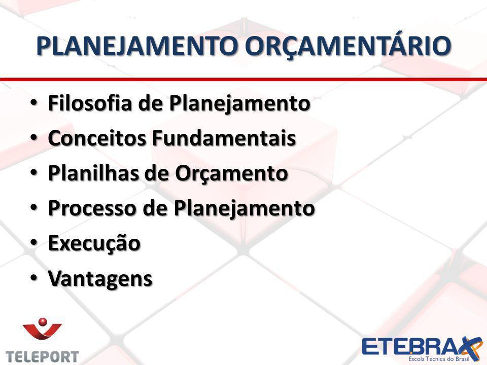 PLANEJAMENTO ORÇAMENTÁRIO Filosofia de Planejamento Filosofia de Planejamento Conceitos Fundamentais Conceitos Fundamentais Planilhas de Orçamento Planilhas de Orçamento Processo de Planejamento Processo de Planejamento Execução Execução Vantagens Vantagens