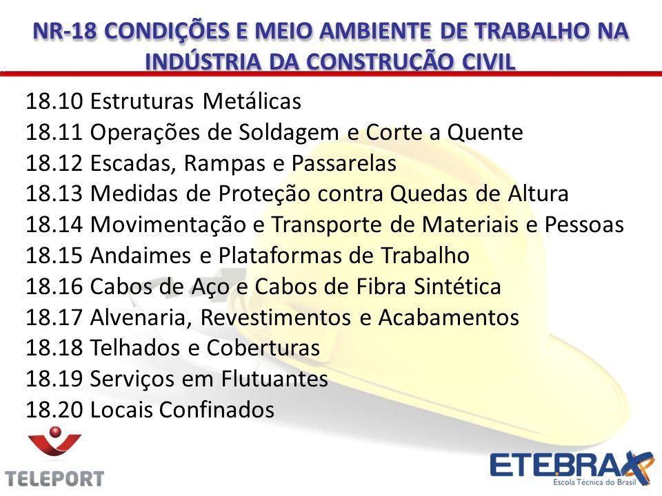 NR-18 CONDIÇÕES E MEIO AMBIENTE DE TRABALHO NA INDÚSTRIA DA CONSTRUÇÃO CIVIL 18.10 Estruturas Metálicas 18.11 Operações de Soldagem e Corte a Quente 1