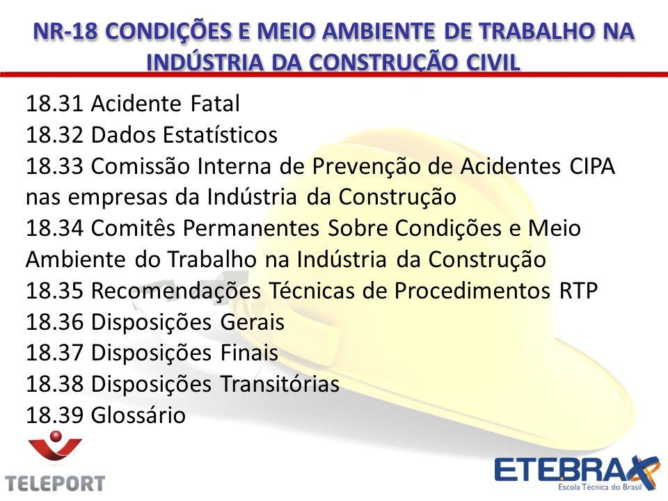 18.31 Acidente Fatal 18.32 Dados Estatísticos 18.33 Comissão Interna de Prevenção de Acidentes CIPA nas empresas da Indústria da Construção 18.34 Comi