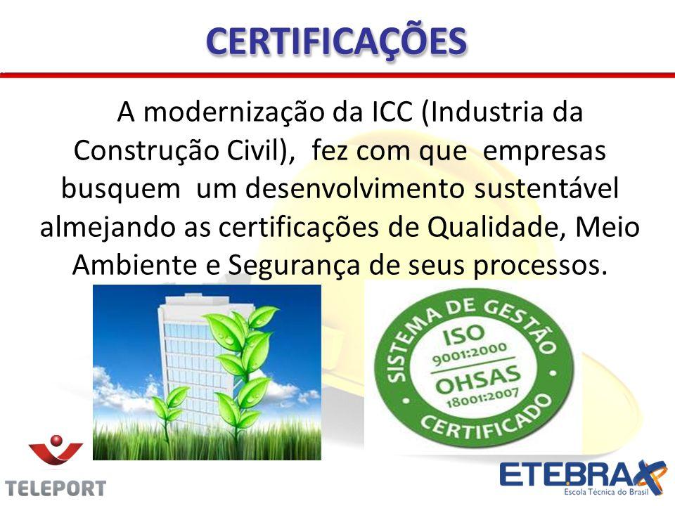 CERTIFICAÇÕESCERTIFICAÇÕES A modernização da ICC (Industria da Construção Civil), fez com que empresas busquem um desenvolvimento sustentável almejand
