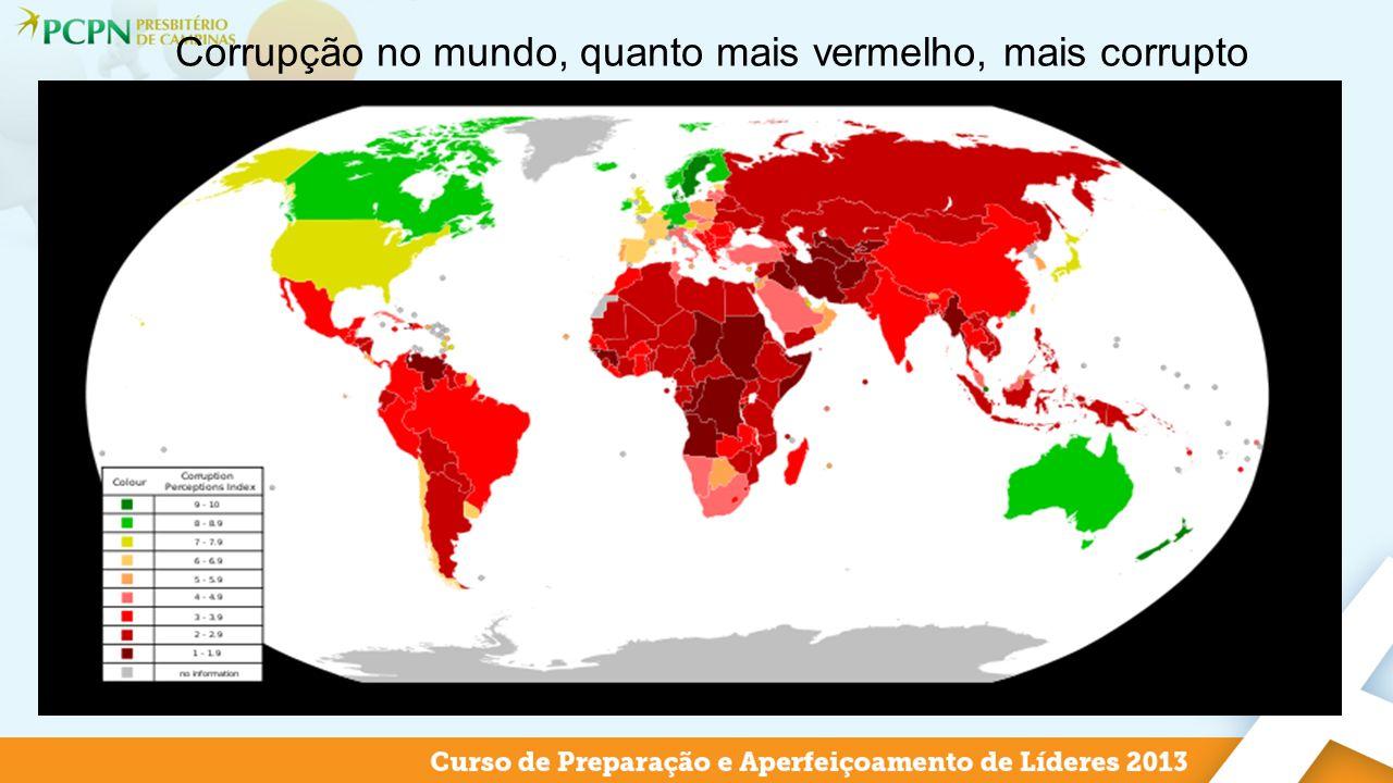 Corrupção no mundo, quanto mais vermelho, mais corrupto