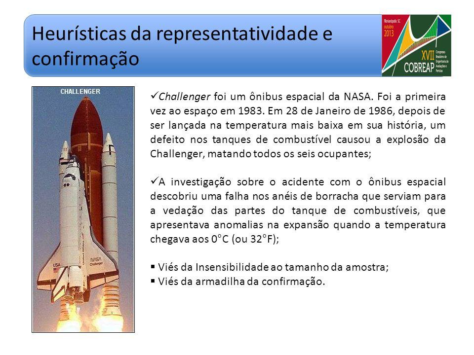 Heurísticas da representatividade e confirmação Challenger foi um ônibus espacial da NASA. Foi a primeira vez ao espaço em 1983. Em 28 de Janeiro de 1