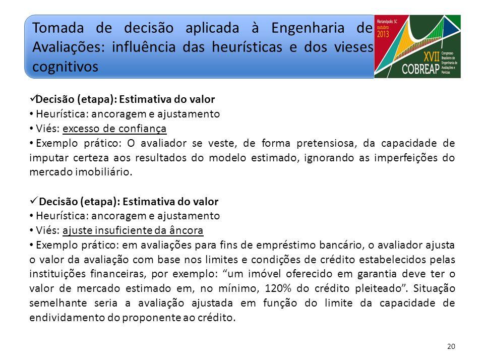20 Decisão (etapa): Estimativa do valor Heurística: ancoragem e ajustamento Viés: ajuste insuficiente da âncora Exemplo prático: em avaliações para fi