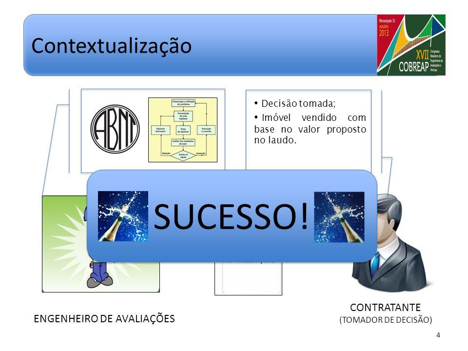 ENGENHEIRO DE AVALIAÇÕES 4 Contextualização CONTRATANTE (TOMADOR DE DECISÃO) Decisão tomada; Imóvel vendido com base no valor proposto no laudo. SUCES