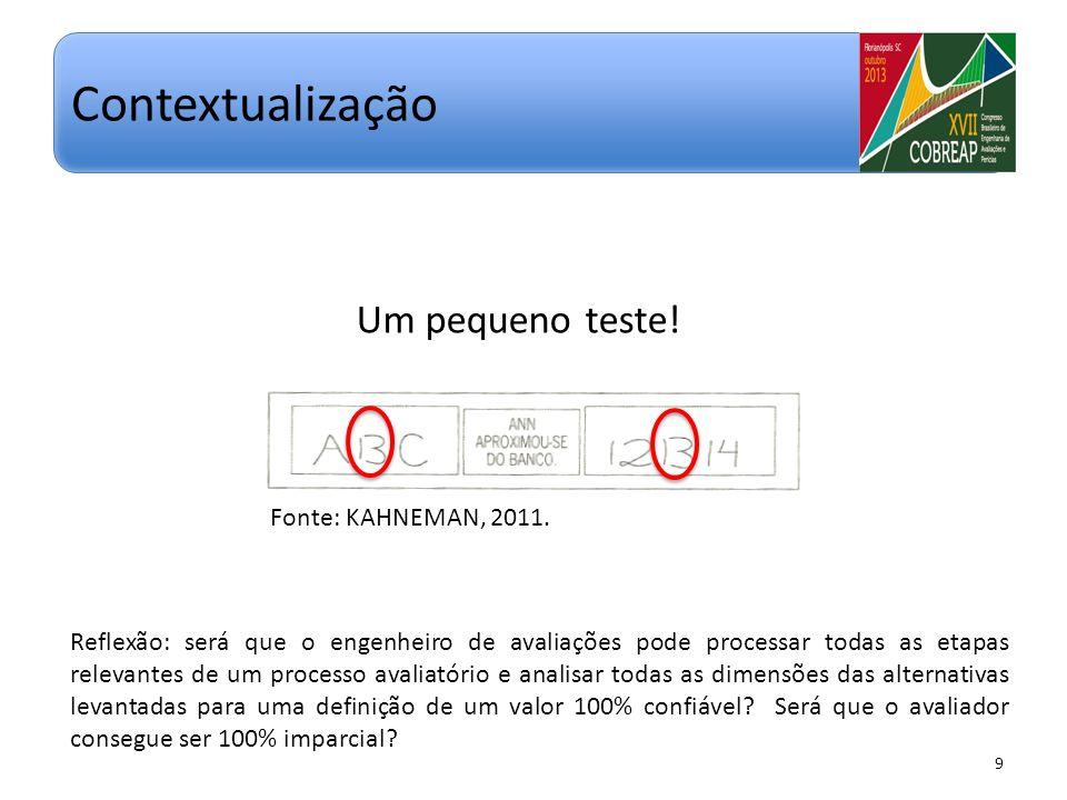 Um pequeno teste! 9 Contextualização Fonte: KAHNEMAN, 2011. Reflexão: será que o engenheiro de avaliações pode processar todas as etapas relevantes de