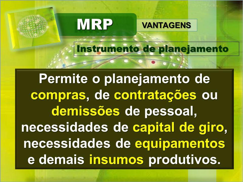 VANTAGENS MRPMRP Situações de diferentes cenários de demanda podem ser simuladas e ter seus efeitos analisados.