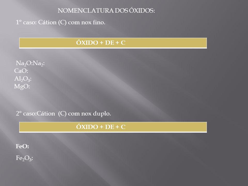 NOMENCLATURA DOS ÓXIDOS: 1° caso: Cátion (C) com nox fino. ÓXIDO + DE + C Na 2 O:Na 2 : CaO: Al 2 O 3 : : MgO: 2° caso:Cátion (C) com nox duplo. ÓXIDO
