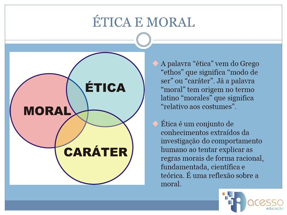 ÉTICA E MORAL A palavra ética vem do Grego ethos que significa modo de ser ou caráter.