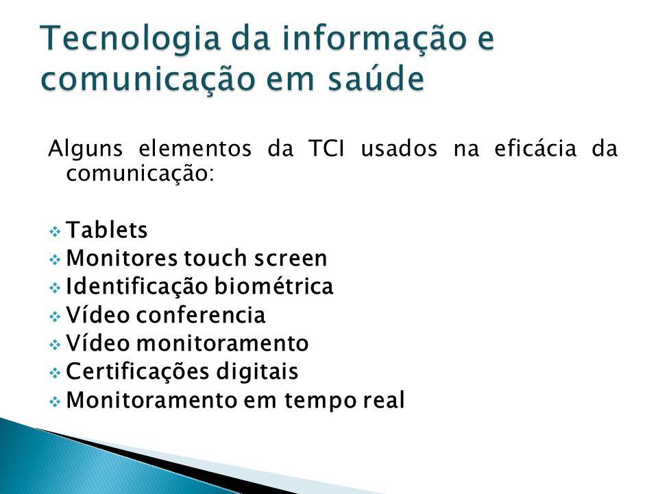 Alguns elementos da TCI usados na eficácia da comunicação: Tablets Monitores touch screen Identificação biométrica Vídeo conferencia Vídeo monitoramen