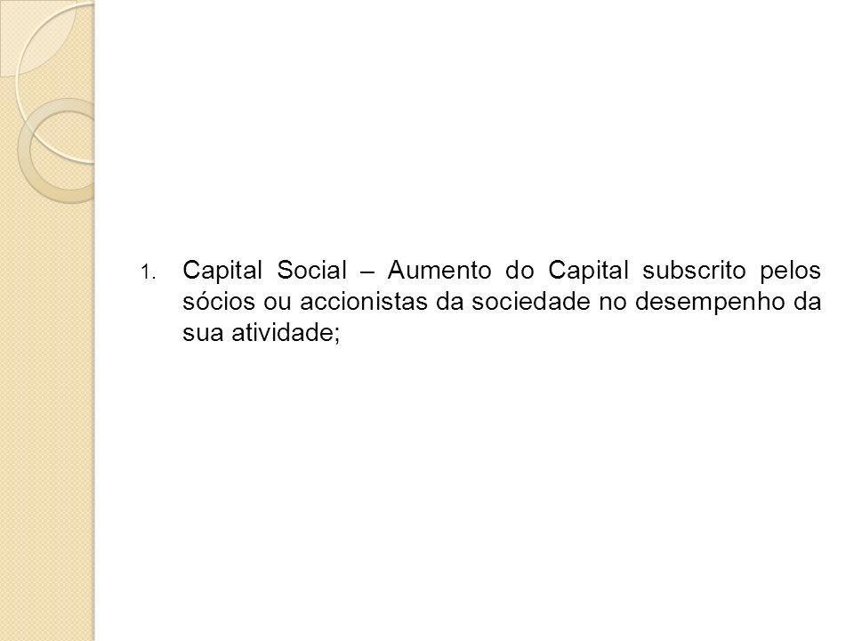 1. Capital Social – Aumento do Capital subscrito pelos sócios ou accionistas da sociedade no desempenho da sua atividade;