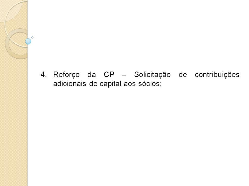 4.Reforço da CP – Solicitação de contribuições adicionais de capital aos sócios;