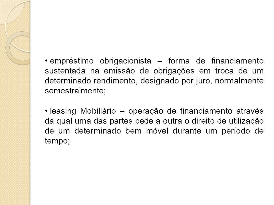 empréstimo obrigacionista – forma de financiamento sustentada na emissão de obrigações em troca de um determinado rendimento, designado por juro, norm