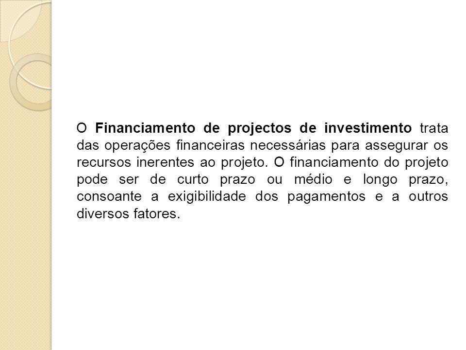 O Financiamento de projectos de investimento trata das operações financeiras necessárias para assegurar os recursos inerentes ao projeto. O financiame