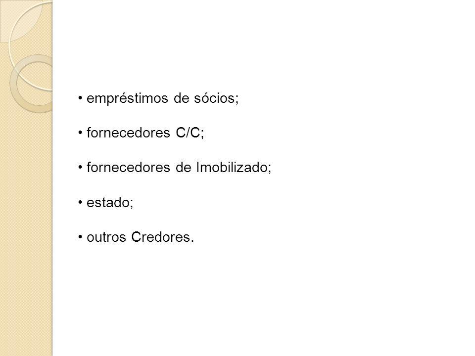 empréstimos de sócios; fornecedores C/C; fornecedores de Imobilizado; estado; outros Credores.