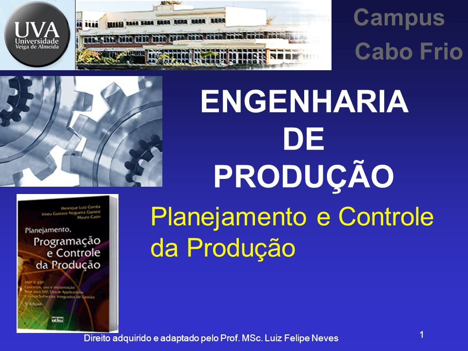 Direito adquirido e adaptado pelo Prof. MSc. Luiz Felipe Neves 11 Planejamento e Controle da Produção Campus Cabo Frio ENGENHARIA DE PRODUÇÃO