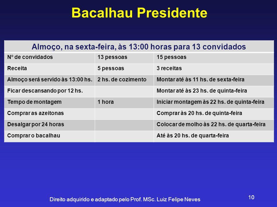 Direito adquirido e adaptado pelo Prof. MSc. Luiz Felipe Neves 10 Bacalhau Presidente Almoço, na sexta-feira, às 13:00 horas para 13 convidados Nº de