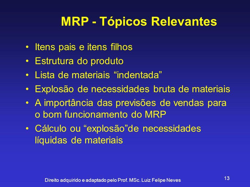 Direito adquirido e adaptado pelo Prof. MSc. Luiz Felipe Neves 13 Itens pais e itens filhos Estrutura do produto Lista de materiais indentada Explosão