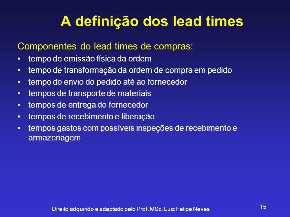 Direito adquirido e adaptado pelo Prof. MSc. Luiz Felipe Neves 15 A definição dos lead times Componentes do lead times de compras: tempo de emissão fí