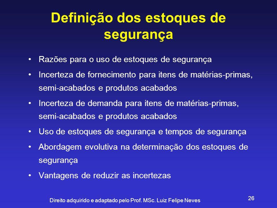 Direito adquirido e adaptado pelo Prof. MSc. Luiz Felipe Neves 26 Definição dos estoques de segurança Razões para o uso de estoques de segurança Incer