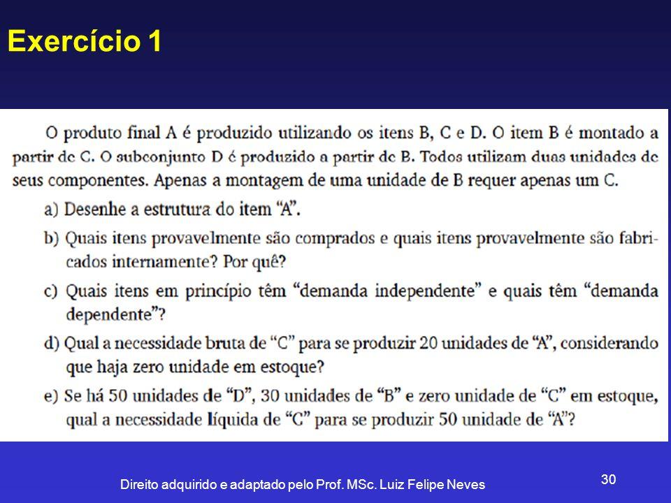 Direito adquirido e adaptado pelo Prof. MSc. Luiz Felipe Neves 30 Exercício 1