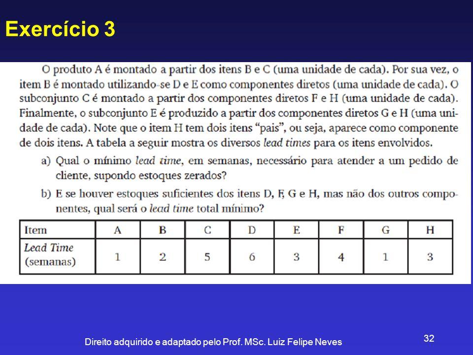 Direito adquirido e adaptado pelo Prof. MSc. Luiz Felipe Neves 32 Exercício 3