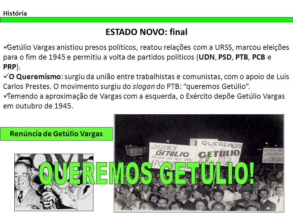 Getúlio Vargas anistiou presos políticos, reatou relações com a URSS, marcou eleições para o fim de 1945 e permitiu a volta de partidos políticos (UDN, PSD, PTB, PCB e PRP).