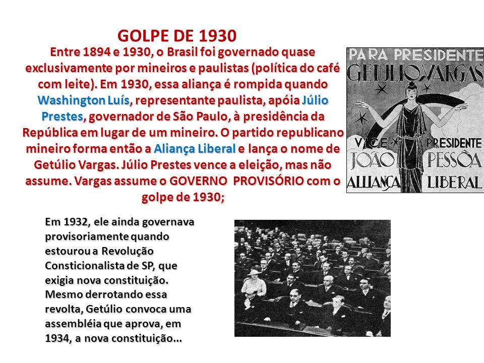Entre 1894 e 1930, o Brasil foi governado quase exclusivamente por mineiros e paulistas (política do café com leite). Em 1930, essa aliança é rompida