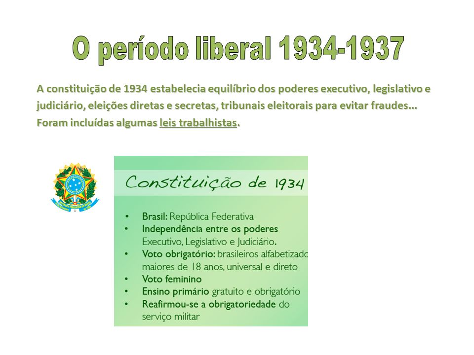 A constituição de 1934 estabelecia equilíbrio dos poderes executivo, legislativo e judiciário, eleições diretas e secretas, tribunais eleitorais para