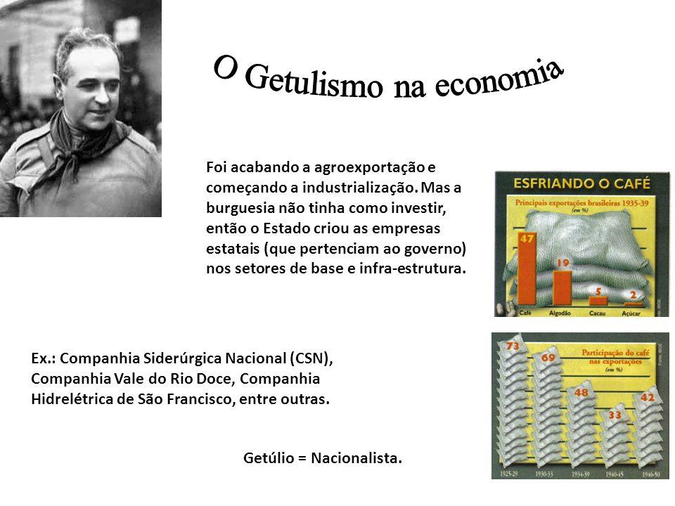Foi acabando a agroexportação e começando a industrialização. Mas a burguesia não tinha como investir, então o Estado criou as empresas estatais (que